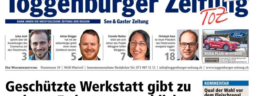 Titelseite der Toggenburger Zeitung