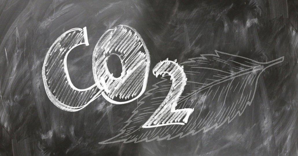 CO2 mit Kreide auf Wandtafel