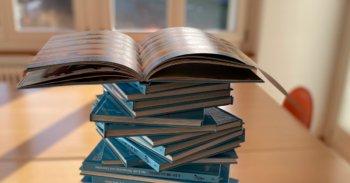 Ein Stapel von blauen Globi-Büchern