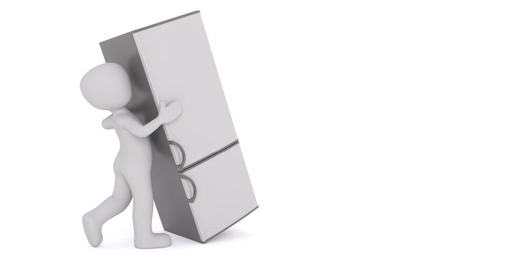 Illustration von Kühlschrank und Installateur