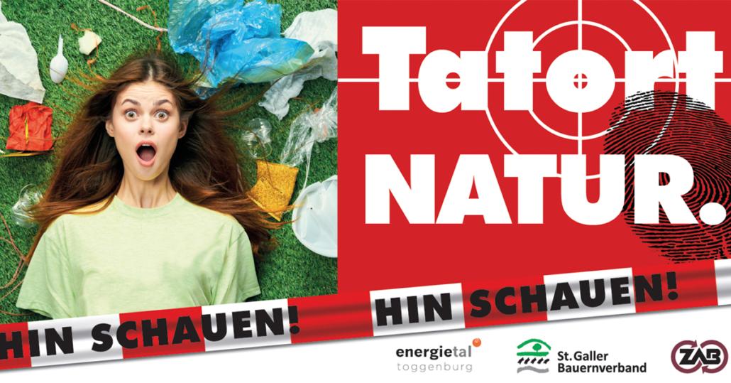 Plakat mit Tatort Logo und Müll in der Wiese